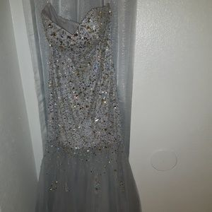 SPRING SALE! Silver/Grey sequence prom dress